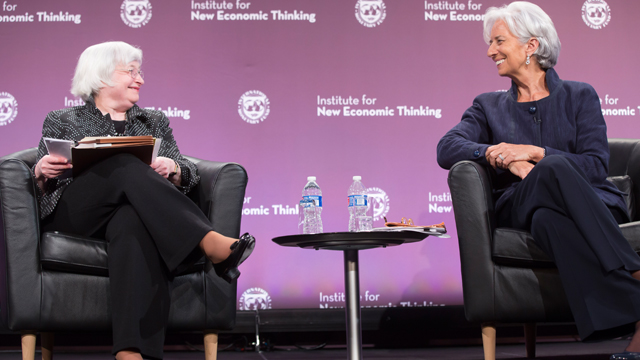 Federal Reserve Board Chairwoman Janet Yellen (L) and International Monetary Fund Managing Director Christine Lagarde (R) speak about global finance during a conference May 6, 2015 in Washington, DC. The Institute for New Economic Thinking held its Finance & Society conference at IMF headquarters held the event.