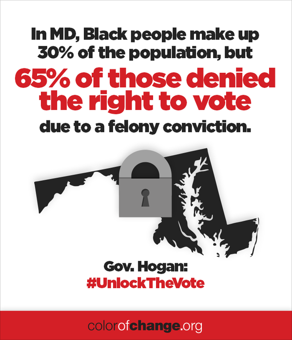 In MD, black people make up 30% of the population, but 65% of those denied the right to vote due to a felony conviction.
