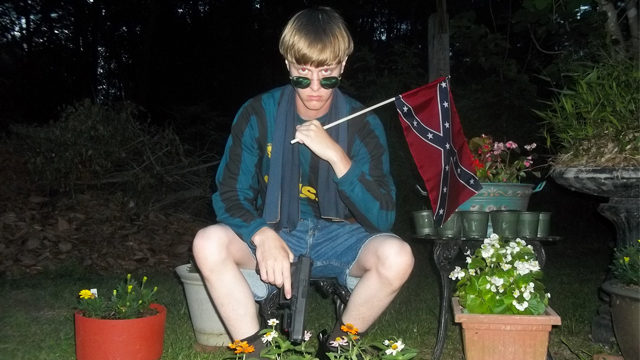 A photo from a white supremacist website showing Dylann Roof, the suspect in the Charleston, S.C., church shooting.