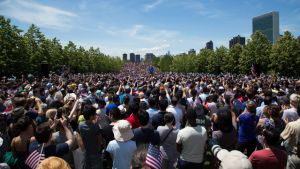 Hillary Clinton's official campaign launch in New York City on June 13, 2015, with downtown Manhattan in the distance. (Photo Credit: Brit Liggett for Hillary for America) [click to enlarge]