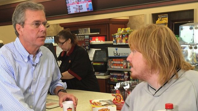 Jeb Bush on the campaign trail stops for coffee at Casey's. (Credit: Jeb! Instagram)