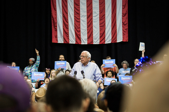 Bernie Sanders speaking at a rally last month in New Orleans' Pontchartrain Center (Credit: Nick Solari / Flickr / CC 2.0)