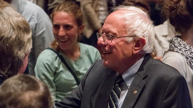 Vermont Senator Bernie Sanders meeting Iowans after his speech at Drake University in Des Moines, Iowa. 6/12/2015 (Photo by John Pemble / Flickr CC 2.0)