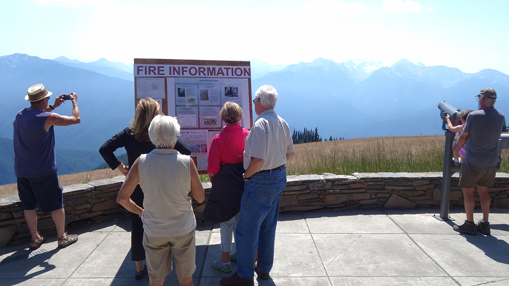 Fire Information Bulletin Board and Smoke from Fire, Hurricane Ridge Visitor Center, Olympic National Park, July 19, 2015.