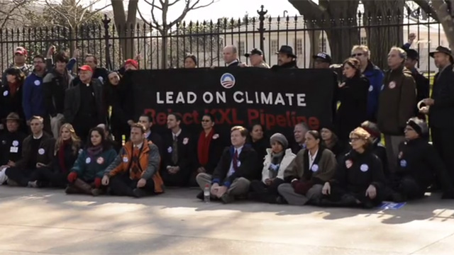Screenshot from Bill Moyers video of Bill McKibben 360.org protest of Keystone Pipeline at the White House in 2013.