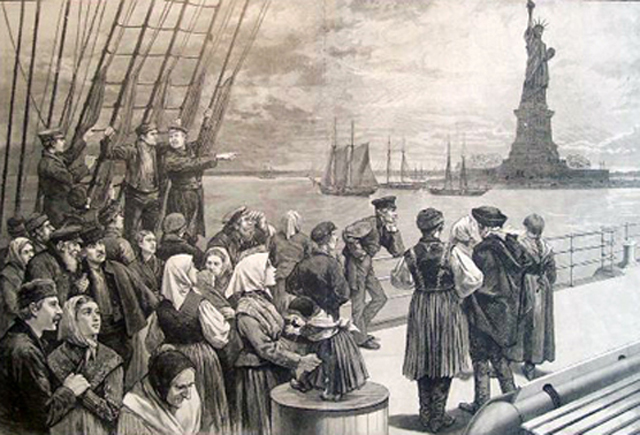 An illustration of immigrants on the steerage deck of an ocean steamer passing the Statue of Liberty from Frank Leslie's Illustrated Newspaper, July 2, 1887. (Credit: National Park Service, Statue of Liberty NM)