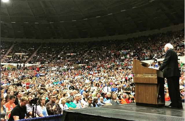 Bernie Sanders speaks to a crowd in Madison, Wisconsin earlier this summer.  (Credit: Bernie Sanders Instagram Feed)