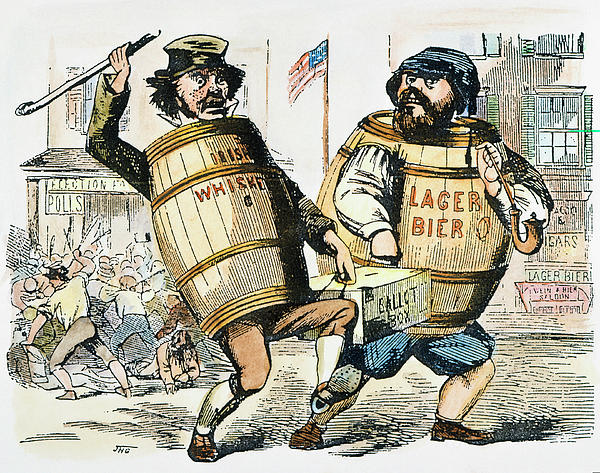 A Know-Nothing cartoon demonstrating stereotypical fears of whiskey-drinking Irishmen and beer-guzzling Germans.
