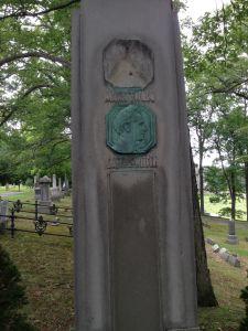 Defaced Mark Twain monument. Photo: Michael Winship