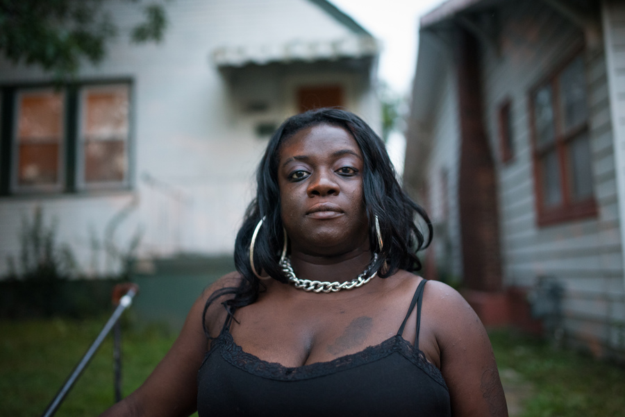 Since 2012, Cori Winfield has had her wages garnished over an unpaid car loan. Because the debt continues to run at an annual interest rate of 30 percent, she has already paid more than twice of what she owed when the car was repossessed in 2010. (Edwin Torres/ProPublica)