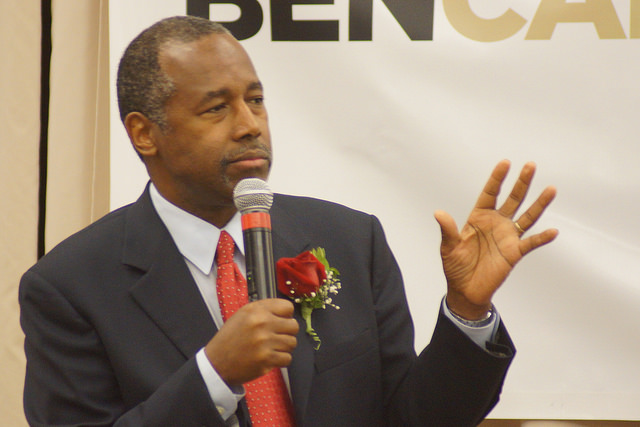Ben Carson, a candidate for the Republican presidential nomination who opposed a Muslim being elected president. (Credit: Marc Nozell / Flickr CC 2.0)