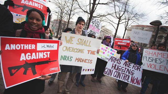 Protestors call for stricter gun control. (Josh Lopez/CREDO Action)