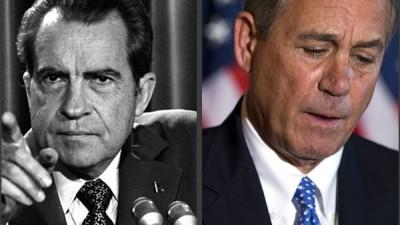 Composite of President Richard Nixon and Speaker of the House John Boehner