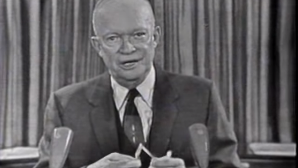"""Dwight D. Eisenhower delivers his famous """"Military-Industrial Complex"""" speech."""