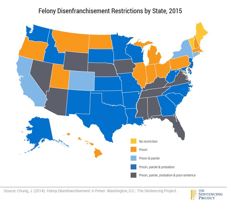 Felony disenfranchisement by state, 2015 - Map by the Sentencing Project