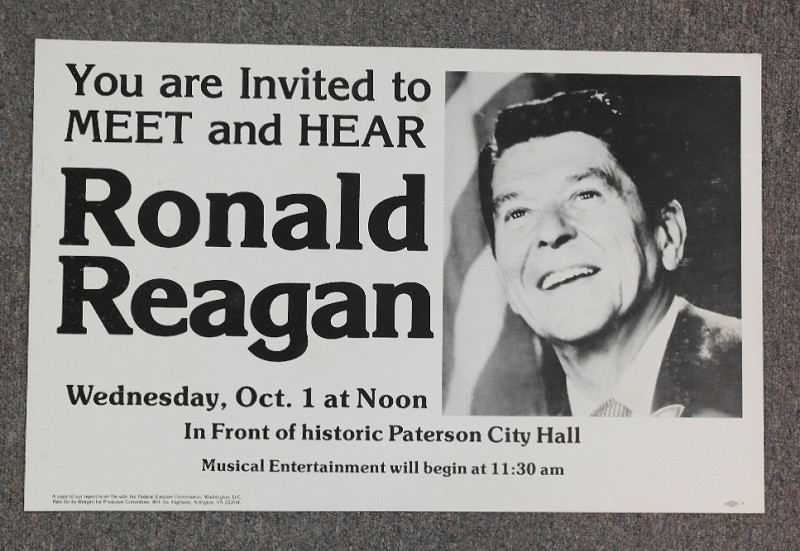 """Original cardboard poster. """"You Are Invited To Meet and Hear Ronald Reagan"""" Promotes campaign rally at Paterson City Hall with young photo of Reagan. Paid for by Reagan for President Committee, Arlington, Virginia. (Courtesy of Lori Ferber Presidential Memorabilia)"""