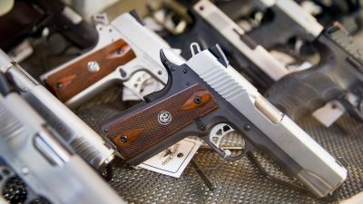 Handguns for sale at Freddie Bear Sports on March 11, 2015 in Tinley Park, Illinois. (Photo by Scott Olson/Getty Images)