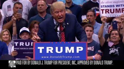 A screenshot from Donald Trump's first official TV advertisement.