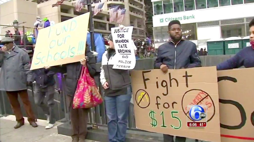 Still from local news report on the protests. (6abc.com)