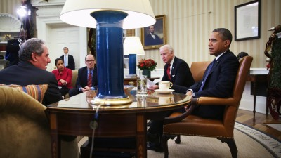 WASHINGTON, DC - DECEMBER 16: U.S. President Barack Obama (R) listens to U.S. Trade Representative Michael Froman (L) as Vice President Joseph Biden (4th L), National Security Adviser Susan Rice (2nd L) and U.S. Secretary of Labor Thomas Perez (3rd L) look on during a meeting in the Oval Office of the White House December 16, 2013 in Washington, DC. According to the White House, Obama was meeting about trade and the Trans-Pacific Partnership (TPP). (Photo by Alex Wong/Getty Images)