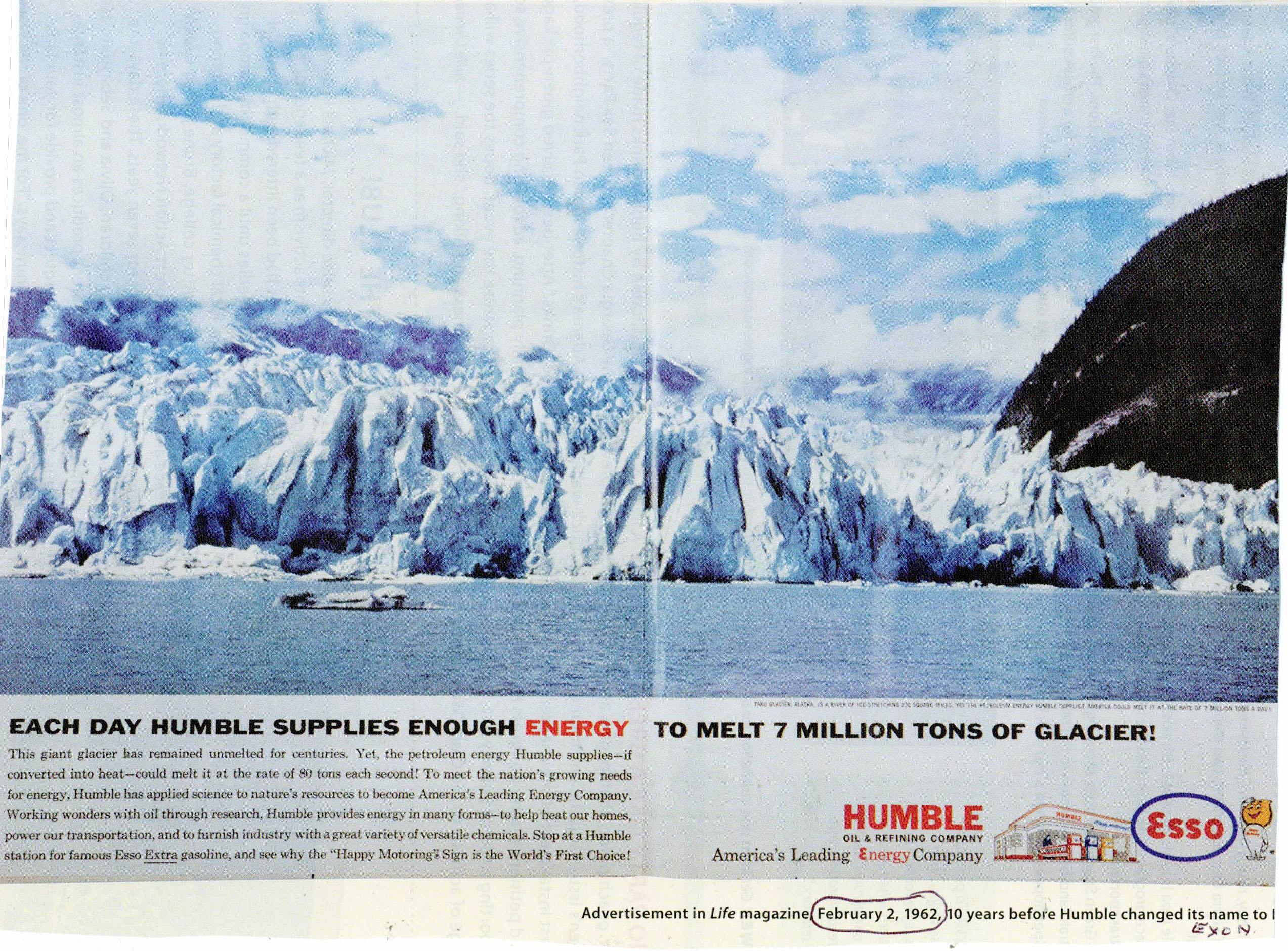 Taku Glacier in Humble Oil ad, <em>LIFE</em> Magazine, 1962.