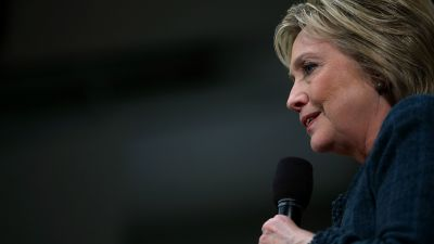 Democratic presidential candidate former Secretary of State Hillary Clinton speaks during a get out the vote organizing event at Rundlett Middle School on February 6, 2016 in Concord, New Hampshire.