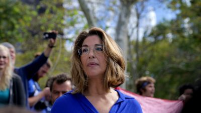 """Naomi Klein at the """"Flood Wall Street"""" protest in September 2014. (John Light/Moyers & Company)"""