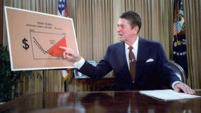Ronald Reagan gives a televised address from the Oval Office, outlining his plan for Tax Reduction Legislation in July 1981. (Library of Congress via Wikimedia Commons)