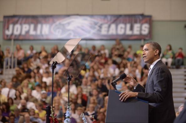 US President Barack Obama delivers the commencement address at Joplin High School on May 21, 2012  in Joplin, Missouri. (MANDEL NGAN/AFP/GettyImages)