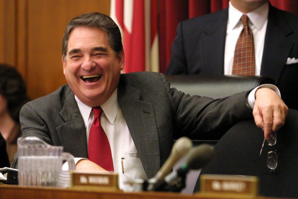 "385602 24: House Energy and Commerce Committee Chairman Rep. W.J. ""Billy"" Tauzin (R-LA) laughs prior to a hearing on election night 2000 coverage by the networks before the House committee on energy and commerce February 14, 2001 on Capitol Hill in Washington, D. C. (Photo by Alex Wong/Newsmakers)"