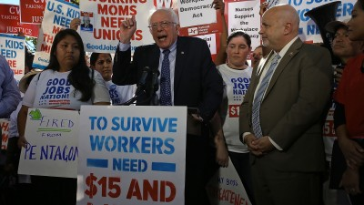 Sen. Bernie Sanders (I-VT) speaks during a Capitol Hill news conference on better wages for workers on Oct. 6, 2015 in Washington, DC. He held the news conference to introduce legislation designed to make it easier for workers to join together and bargain for better wages, benefits and working conditions. (Photo by Mark Wilson/Getty Images)