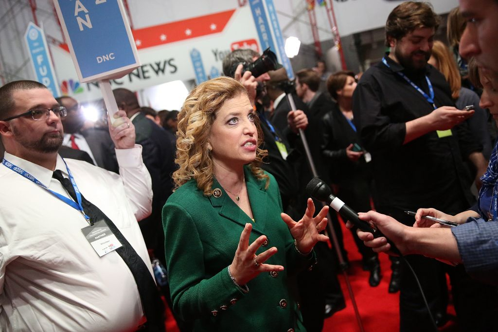 U.S. Representative Debbie Wasserman Schultz (D-FL 23rd District) and chair of the Democratic National Committee (DNC) speaks to reporters in the spin room after watching tonight's democratic presidential debate at the Gaillard Center on January 17, 2016 in Charleston, South Carolina. Democratic presidential hopefuls Hillary Clinton, Bernie Sanders and Martin O'Malley spent yesterday campaigning in South Carolina in lead up to tonight's debate. (Photo by Andrew Burton/Getty Images)