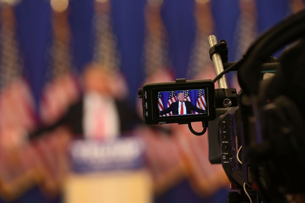JUPITER, FL - MARCH 08: Republican presidential candidate Donald Trump is seen in a television cameras view finder during a press conference at the Trump National Golf Club Jupiter on March 8, 2016 in Jupiter, Florida. Mr. Trump and other Republican candidates reacted to primary day vote counts in Michigan, Mississippi, Idaho, and Hawaii. (Photo by Joe Raedle/Getty Images)