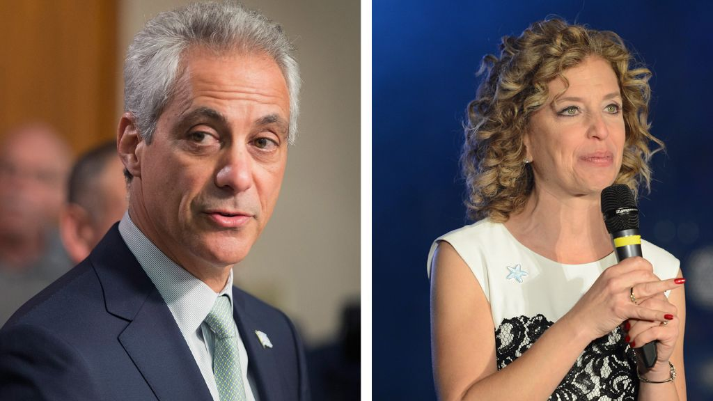 Left: Rahm Emanuel (Photo by Scott Olson/Getty Images). Right: Debbie Wasserman Schultz (Photo by Stephen Lovekin/Getty Images for OurTime.org).