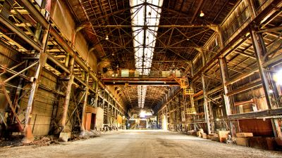 An abandoned steel mill near Detroit. This factory is just shy of a mile long from end to end. (Jonathan Graeber / Flickr CC 2.0)