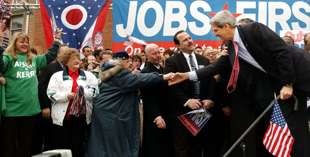 Democratic presidential candidate Sen. John Kerry (D-MA) shakes hands with a supporter during a rally at Federal Plaza April 27, 2004 in Youngstown, Ohio. (Photo: Stephen Chernin/Getty Images)