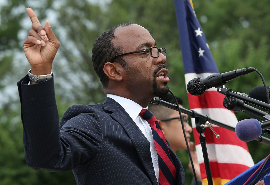 """NAACP President and CEO Cornell William Brooks announcing  """"America's Journey for Justice,"""" an 860-mile march from Selma, Alabama, to Washington, DC, at a press conference at the Lincoln Memorial. (Win McNamee/Getty Images)"""