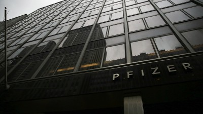 Pfizer's corporate headquarters in midtown Manhattan. (Photo by Spencer Platt/Getty Images)