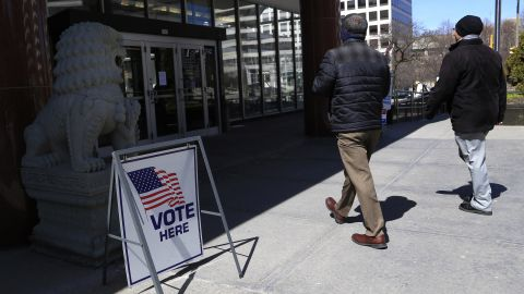 Voters take to the polls at Milwaukee City Hall April 5, 2016 in Milwaukee, Wisconsin. (Photo by Darren Hauck/Getty Images)