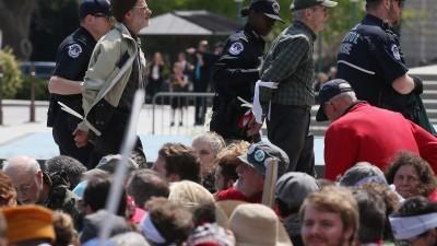 Democracy Spring demonstrators being arrested