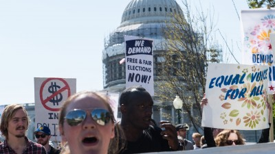 Democracy Spring activists march for a fifth day at the US Capitol. (Photo: Nicholas Kamm /AFP/Getty Images)