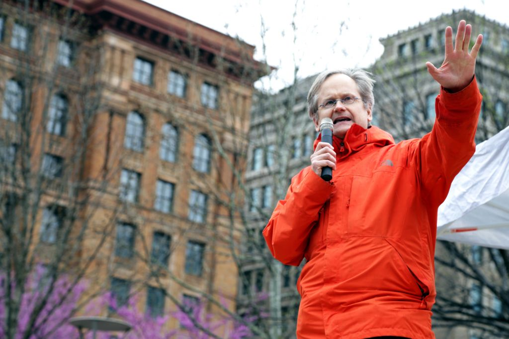 Lawrence Lessig speaks outside Independence Hall in Philadelphia.