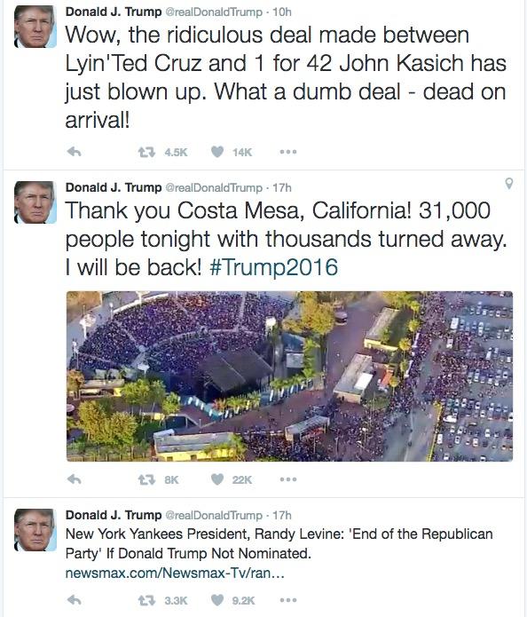 Screetshot of Trump twitter feed