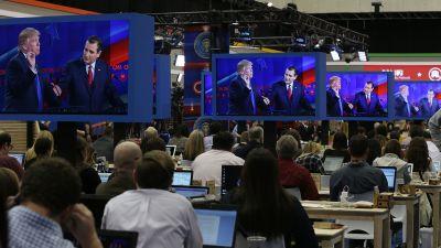 Media room, Republican presidential debate.