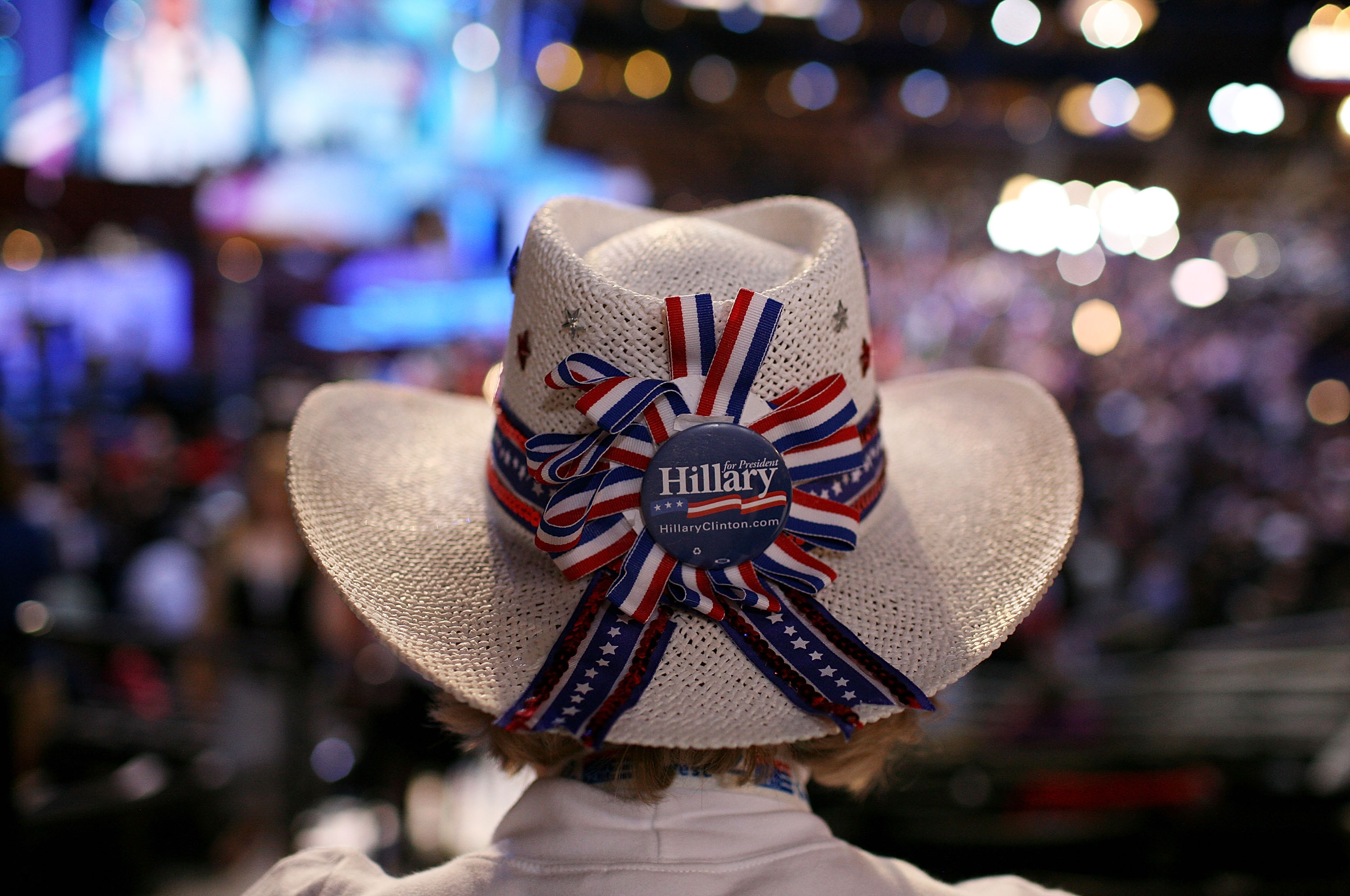A women wears a hat supporting Sen Hillary Clinton (D-NY) during day two of the 2008 Democratic National Convention in Denver, Colorado. (Photo by Justin Sullivan/Getty Images)