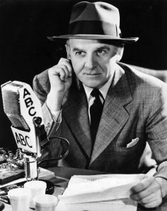 US news commentator, drama critic and gossip columnist Walter Winchell (1897 - 1972), making a radio broadcast.  (Photo by Keystone/Getty Images)