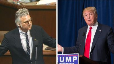 Left: Rep. James Traficant (D-Ohio) speaks before members of the House of Representatives July 24, 2002. (House TV/Getty Images) Right: Republican presidential candidate Donald Trump. (Photo by Scott Olson/Getty Images)