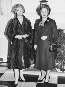 Vigdis Finnbogadóttir (left), the President of Iceland, meets British Prime Minister Margaret Thatcher at Number 10 Downing Street in London, Feb. 17, 1982. (Photo by Mike Stephens/Central Press/Getty Images)