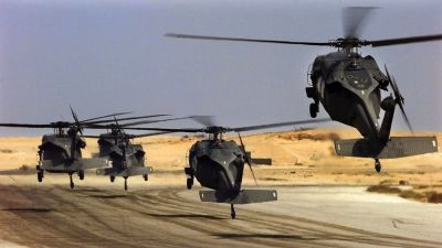 US Army Black Hawk helicopters lift off during Exercise Bright Star in Cairo, Egypt. (Photo by Jim Varhegyi/US Air Force /Getty Images)
