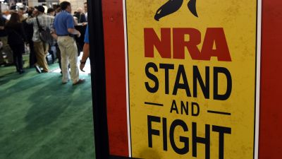 "NRA ""Stand and Fight"" sign at gun show"